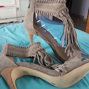 Taupe suede fringe sandals